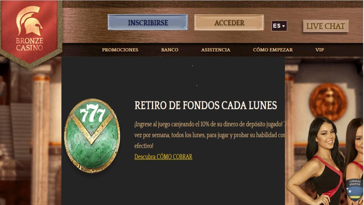 Lunes de reembolso por retiro del 10% en Bronze Casino