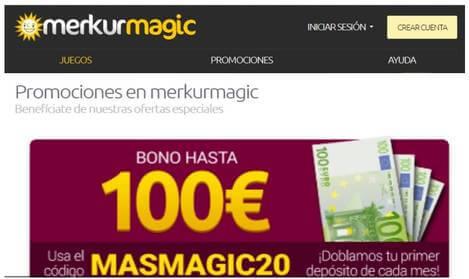 Bono de hasta 100 euros Merkurmagic por ingreso
